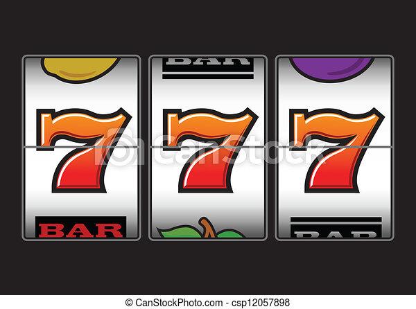 sevens, machine, groeven, gelukkig, drievoudig - csp12057898