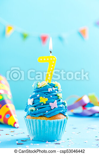 Seventh 7th Birthday Cupcake With Candle Card Mockup