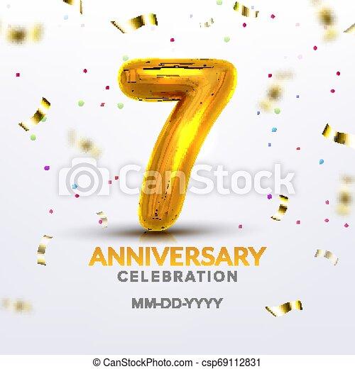 Seventh Anniversary Birth Celebrate Number Vector - csp69112831