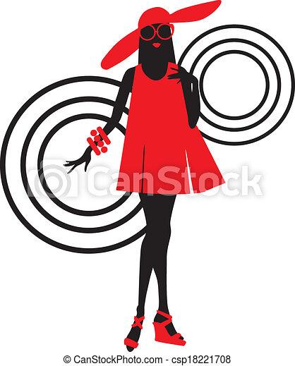 Seventies fashion woman silhouette - csp18221708