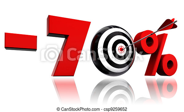 seventy per cent red discount symbol with target and arrow - csp9259652