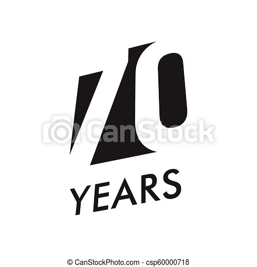 Seventy Years Vector Emblem Template Anniversary Symbol Negative Space Design Jubilee Black Color Icon Happy 70th