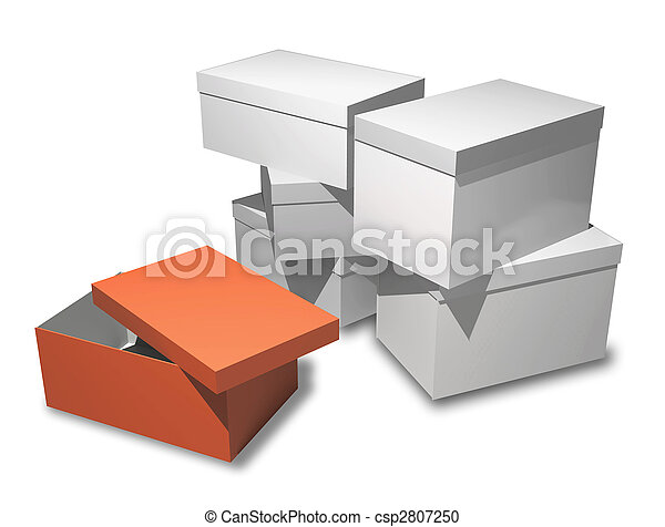 Several boxes of gifts on a white background. Orange box is open. Insulated render. - csp2807250