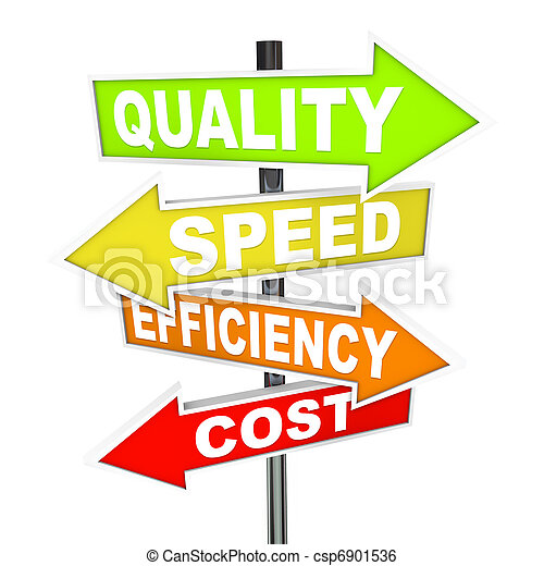 Several colorful arrow signs pointing in different directions representing different priorities in managing production processes - quality, speed, efficiency, and cost - csp6901536