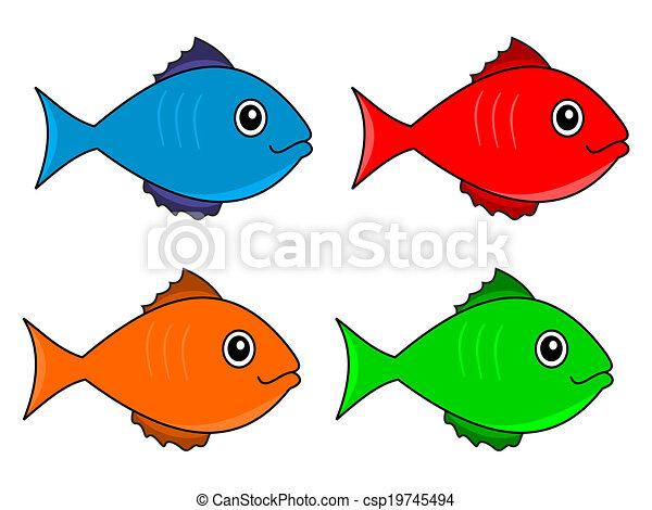 several fish color vector