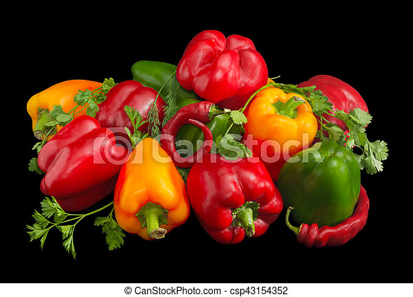 Several green, yellow and red bell peppers, chili and greens - csp43154352