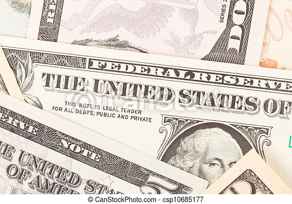 Several paper american dollars isolated - csp10685177