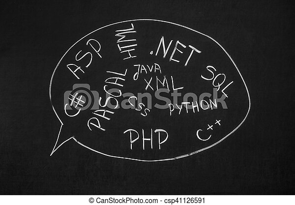 Several programming languages names written in on the blackboard - csp41126591