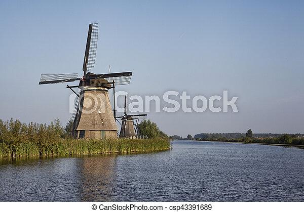 Several stone brick Dutch windmills at Kinderdijk, an UNESCO world heritage site - csp43391689
