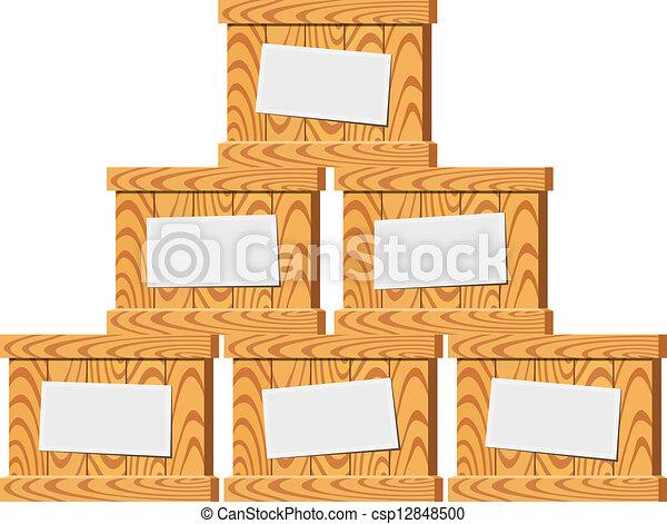 Several wooden crates. Vector illustration  - csp12848500