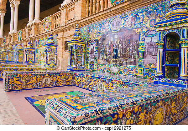 sevilla, plaza, espana, de, famoso, españa - csp12921275