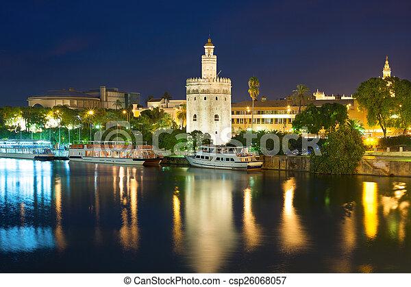 Seville at a black summer night - csp26068057