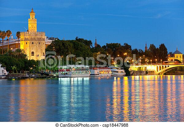 Seville at a summer night - csp18447988
