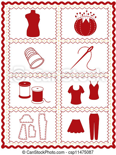 Sewing and Tailoring Icons - csp11475087