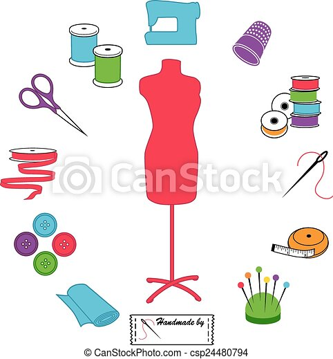Sewing and Tailoring Icons, Pastels - csp24480794