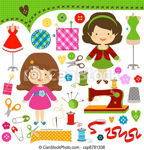 sewing girls - csp8781338