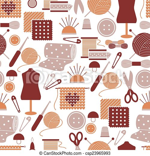 Sewing icons seamless pattern - csp23965993