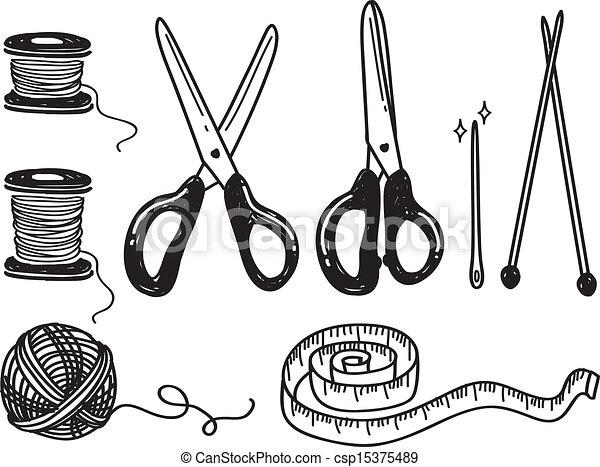 sewing kit doodle - csp15375489