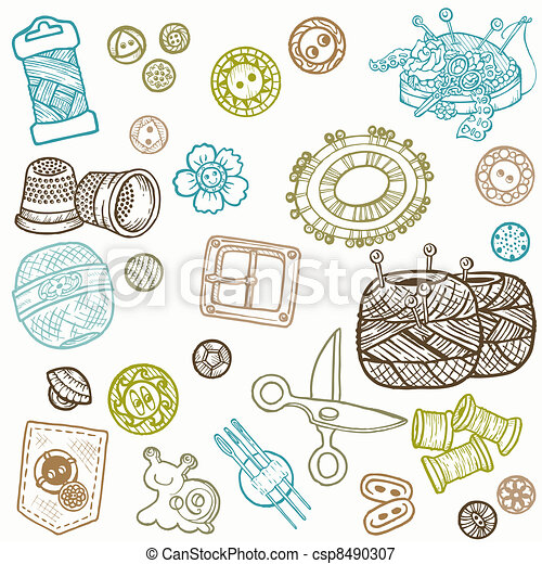 Sewing Kit Doodles - hand drawn design elements in vector - csp8490307