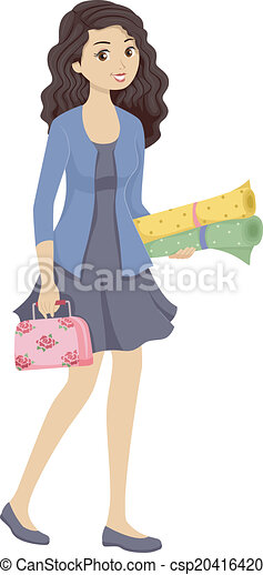 sewing kit girl illustration of a teenage girl carrying a vector rh canstockphoto com teenage girl clipart black and white teen girl clip art images