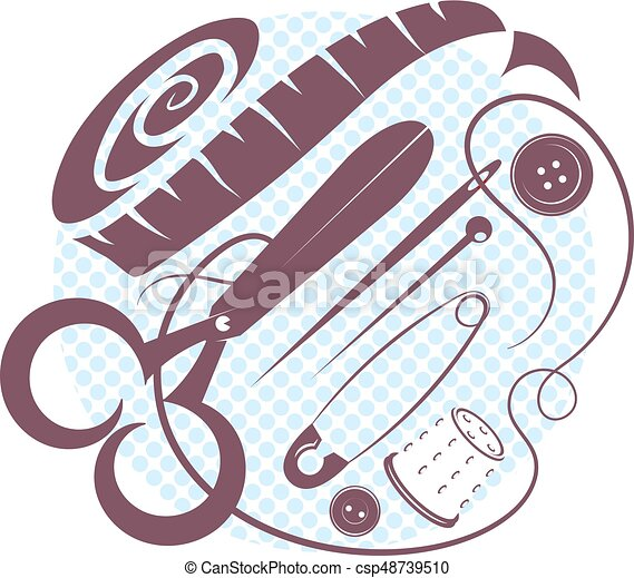 Sewing kit vector illustration - csp48739510