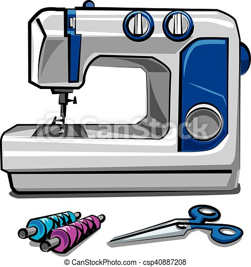 sewing machine and threads illustration of sewing machine rh canstockphoto com sewing machine clipart png sewing machine clip art black and white