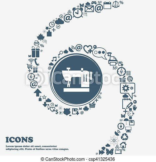 Sewing Machine Icon In The Center Around The Many Beautiful