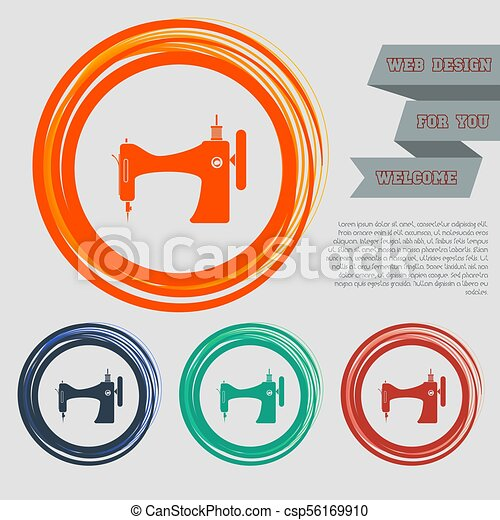 Sewing Machine icon on the red, blue, green, orange buttons for your website and design with space text. Vector - csp56169910