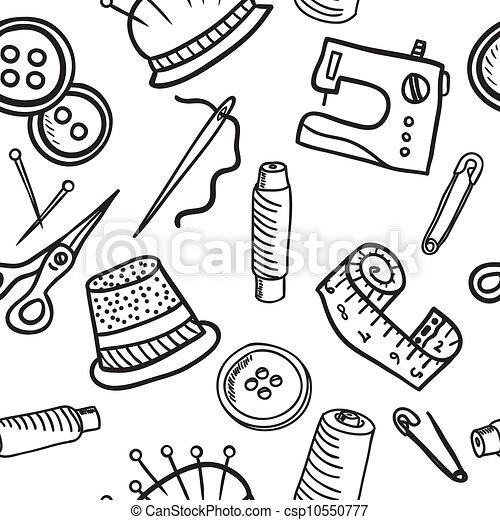 Sewing seamless pattern - hand drawn illustration - csp10550777