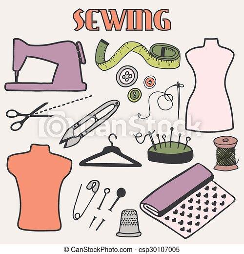 Sewing set. Hand-drawn cartoon tools. Doodle drawing. - csp30107005