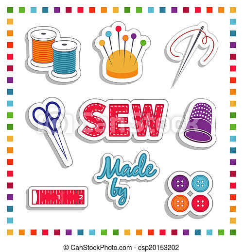 Vector Clipart Of Sewing Stickers Rainbow Colors