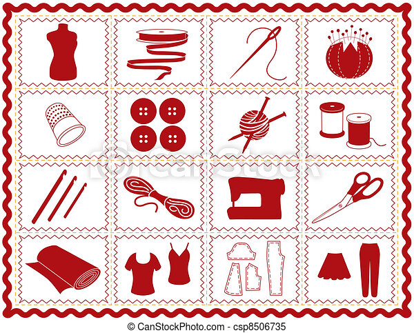 Sewing, Tailor, Knit, Crochet Icons - csp8506735
