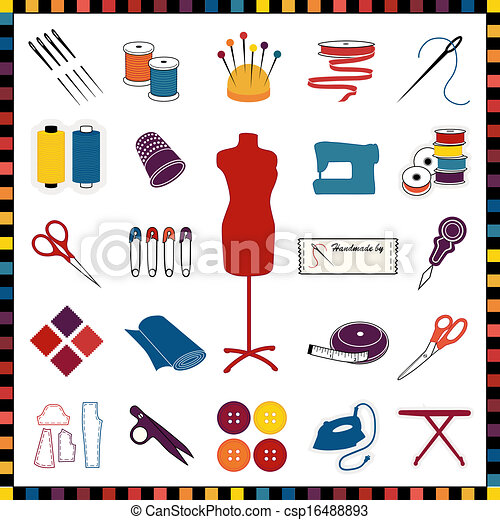 Sewing, Tailoring Icons, Multicolor - csp16488893