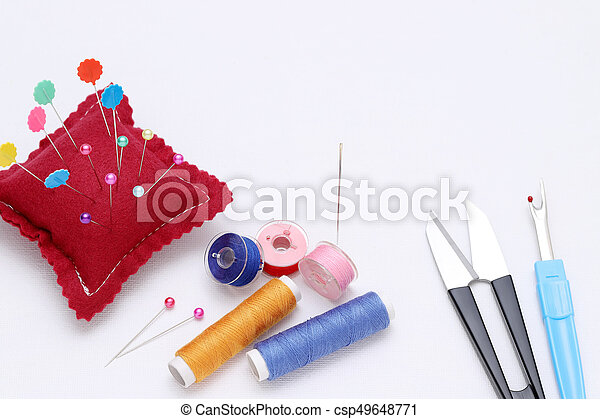 sewing tools, tailoring and fashion concept - csp49648771