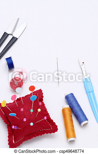 sewing tools, tailoring and fashion concept - csp49648774