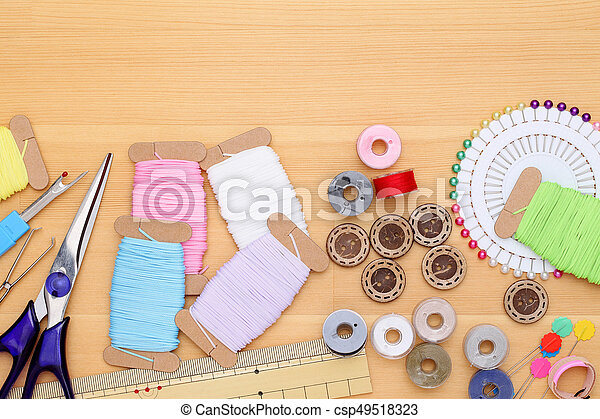 sewing tools, tailoring and fashion concept - csp49518323