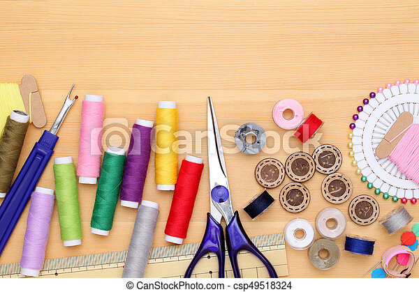 sewing tools, tailoring and fashion concept - csp49518324