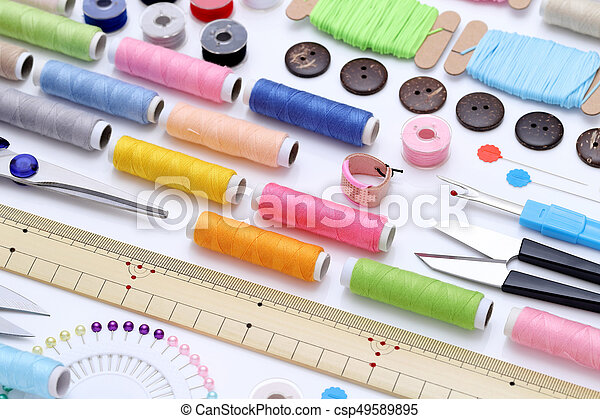 sewing tools, tailoring and fashion concept - csp49589895