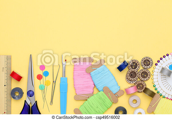 sewing tools, tailoring and fashion concept - csp49516002