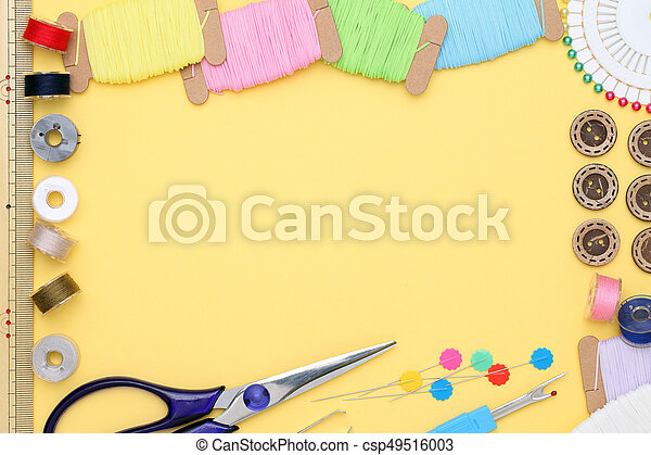 sewing tools, tailoring and fashion concept - csp49516003