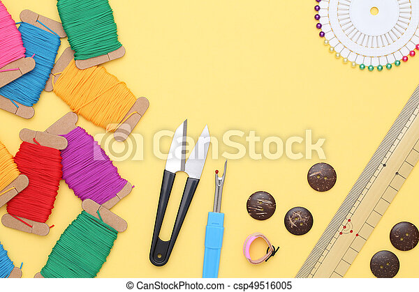 sewing tools, tailoring and fashion concept - csp49516005