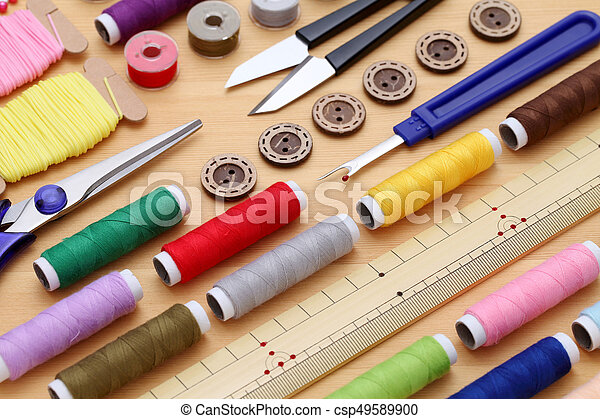sewing tools, tailoring and fashion concept - csp49589900