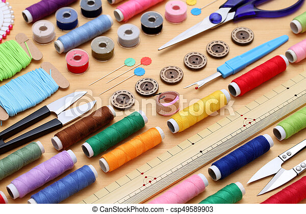 sewing tools, tailoring and fashion concept - csp49589903