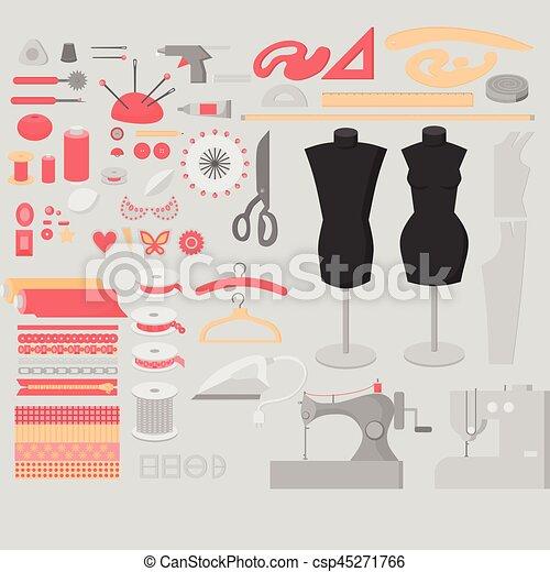 Sewing Workshop Equipment Big Set Flat Tailor Shop Design Elements Tailoring Industry Dressmaking Tools Icons Fashion