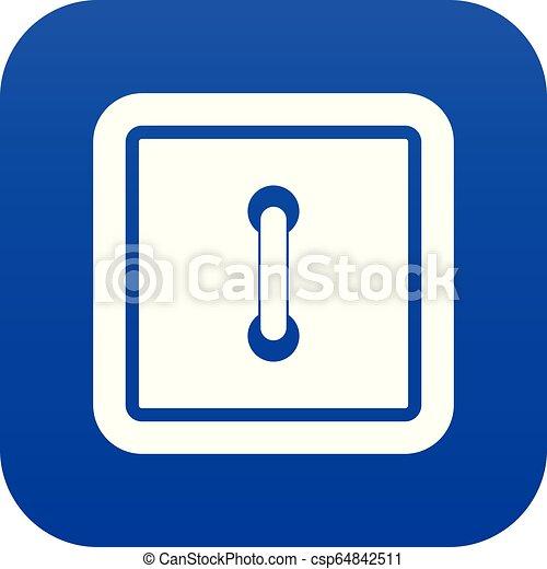 Sewn square button icon digital blue - csp64842511