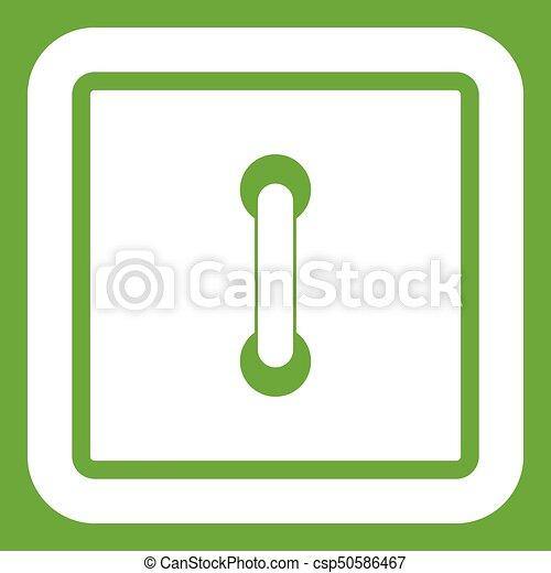 Sewn square button icon green - csp50586467