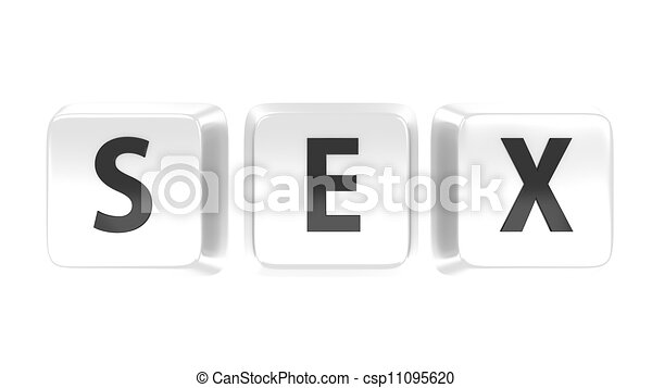 SEX written in black on white computer keys. Isolated background. - csp11095620