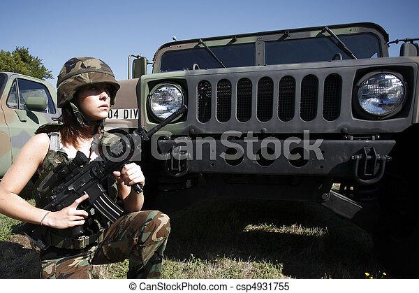 sexig, kvinna, militär - csp4931755