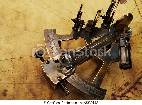 Sextant on an old map - csp8330143