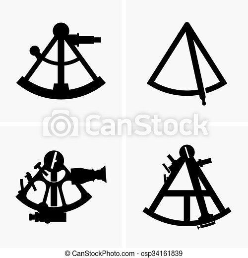 Sextants. Set of four sextants (sahde pictures)